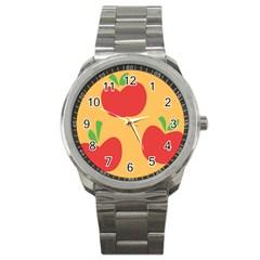 Apple Fruit Red Orange Sport Metal Watch