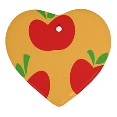 Apple Fruit Red Orange Heart Ornament (Two Sides)