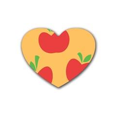 Apple Fruit Red Orange Heart Coaster (4 pack)