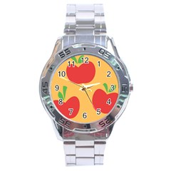 Apple Fruit Red Orange Stainless Steel Analogue Watch
