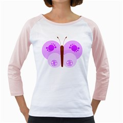 Butterfly Flower Valentine Animals Purple Brown Girly Raglans