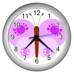 Butterfly Flower Valentine Animals Purple Brown Wall Clocks (silver)