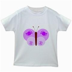Butterfly Flower Valentine Animals Purple Brown Kids White T Shirts