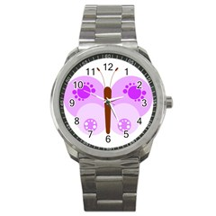 Butterfly Flower Valentine Animals Purple Brown Sport Metal Watch