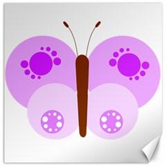 Butterfly Flower Valentine Animals Purple Brown Canvas 16  x 16