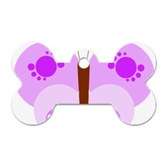 Butterfly Flower Valentine Animals Purple Brown Dog Tag Bone (Two Sides)