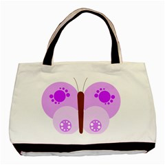 Butterfly Flower Valentine Animals Purple Brown Basic Tote Bag (Two Sides)