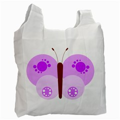 Butterfly Flower Valentine Animals Purple Brown Recycle Bag (One Side)
