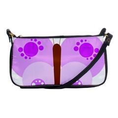 Butterfly Flower Valentine Animals Purple Brown Shoulder Clutch Bags
