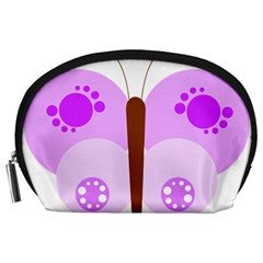 Butterfly Flower Valentine Animals Purple Brown Accessory Pouches (Large)