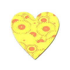 Circles Lime Pink Heart Magnet