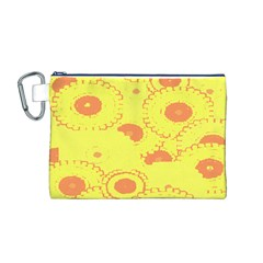 Circles Lime Pink Canvas Cosmetic Bag (M)