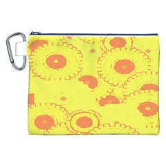 Circles Lime Pink Canvas Cosmetic Bag (XXL)
