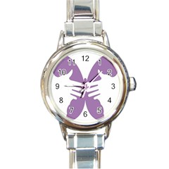 Colorful Butterfly Hand Purple Animals Round Italian Charm Watch