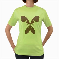 Colorful Butterfly Hand Purple Animals Women s Green T-Shirt