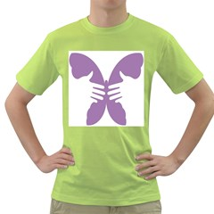 Colorful Butterfly Hand Purple Animals Green T-Shirt