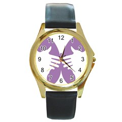 Colorful Butterfly Hand Purple Animals Round Gold Metal Watch