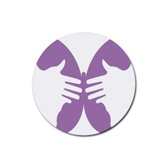 Colorful Butterfly Hand Purple Animals Rubber Coaster (round)