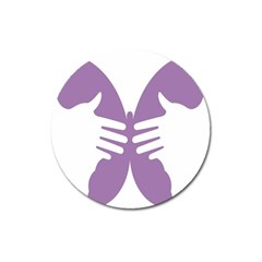 Colorful Butterfly Hand Purple Animals Magnet 3  (Round)