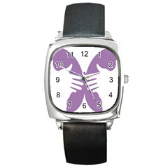 Colorful Butterfly Hand Purple Animals Square Metal Watch