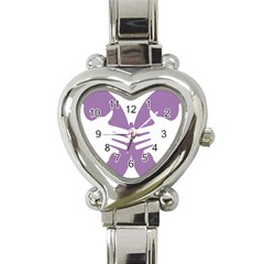 Colorful Butterfly Hand Purple Animals Heart Italian Charm Watch
