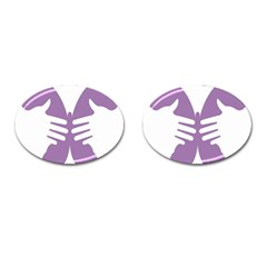 Colorful Butterfly Hand Purple Animals Cufflinks (oval)