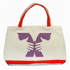 Colorful Butterfly Hand Purple Animals Classic Tote Bag (Red)