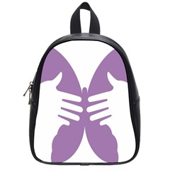 Colorful Butterfly Hand Purple Animals School Bags (Small)