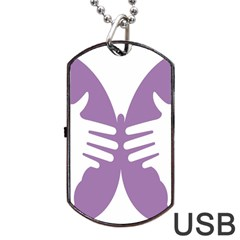 Colorful Butterfly Hand Purple Animals Dog Tag USB Flash (Two Sides)