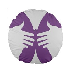 Colorful Butterfly Hand Purple Animals Standard 15  Premium Round Cushions