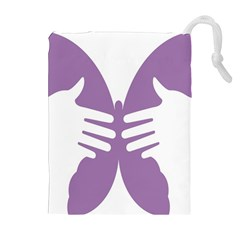 Colorful Butterfly Hand Purple Animals Drawstring Pouches (Extra Large)