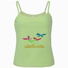 Colorful Butterfly Blue Red Pink Brown Fly Leaf Animals Green Spaghetti Tank