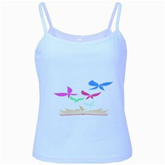 Colorful Butterfly Blue Red Pink Brown Fly Leaf Animals Baby Blue Spaghetti Tank