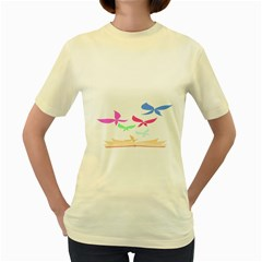 Colorful Butterfly Blue Red Pink Brown Fly Leaf Animals Women s Yellow T-Shirt