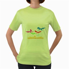 Colorful Butterfly Blue Red Pink Brown Fly Leaf Animals Women s Green T Shirt