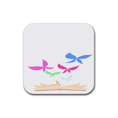 Colorful Butterfly Blue Red Pink Brown Fly Leaf Animals Rubber Square Coaster (4 pack)