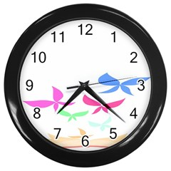 Colorful Butterfly Blue Red Pink Brown Fly Leaf Animals Wall Clocks (Black)