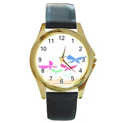 Colorful Butterfly Blue Red Pink Brown Fly Leaf Animals Round Gold Metal Watch