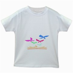 Colorful Butterfly Blue Red Pink Brown Fly Leaf Animals Kids White T-Shirts