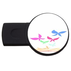 Colorful Butterfly Blue Red Pink Brown Fly Leaf Animals USB Flash Drive Round (1 GB)