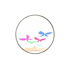 Colorful Butterfly Blue Red Pink Brown Fly Leaf Animals Hat Clip Ball Marker (4 pack)