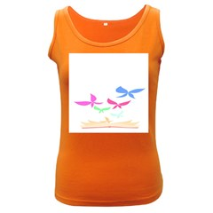 Colorful Butterfly Blue Red Pink Brown Fly Leaf Animals Women s Dark Tank Top