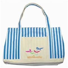 Colorful Butterfly Blue Red Pink Brown Fly Leaf Animals Striped Blue Tote Bag