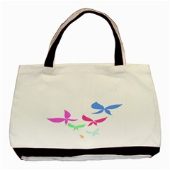 Colorful Butterfly Blue Red Pink Brown Fly Leaf Animals Basic Tote Bag (Two Sides)