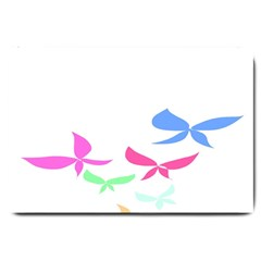 Colorful Butterfly Blue Red Pink Brown Fly Leaf Animals Large Doormat