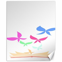 Colorful Butterfly Blue Red Pink Brown Fly Leaf Animals Canvas 11  x 14