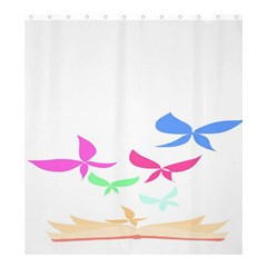 Colorful Butterfly Blue Red Pink Brown Fly Leaf Animals Shower Curtain 66  x 72  (Large)