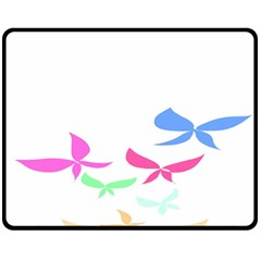 Colorful Butterfly Blue Red Pink Brown Fly Leaf Animals Fleece Blanket (Medium)