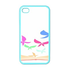 Colorful Butterfly Blue Red Pink Brown Fly Leaf Animals Apple iPhone 4 Case (Color)