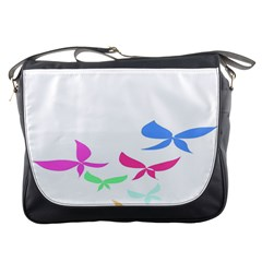 Colorful Butterfly Blue Red Pink Brown Fly Leaf Animals Messenger Bags